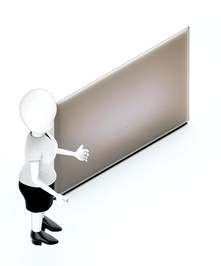 3d white character , standing , hands widened - empty silver copy space board. 3d white character , standing , hands widened -empty silver copy space board - 3d royalty free illustration