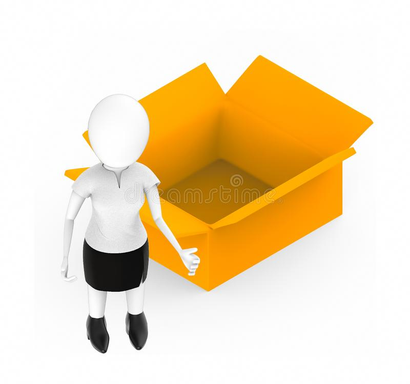3d white character , standing , hands widened -opened cardboard box royalty free illustration