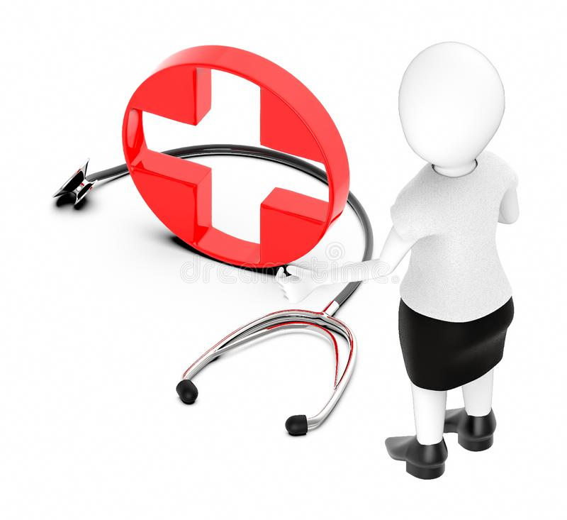 3d white character , standing , hands widened -red cross , first aid sign and stethoscope stock illustration