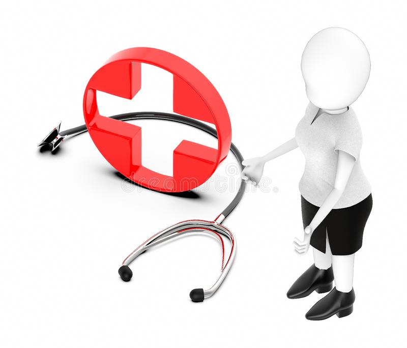 3d white character , standing , hands widened -red cross , first aid sign and stethoscope royalty free illustration