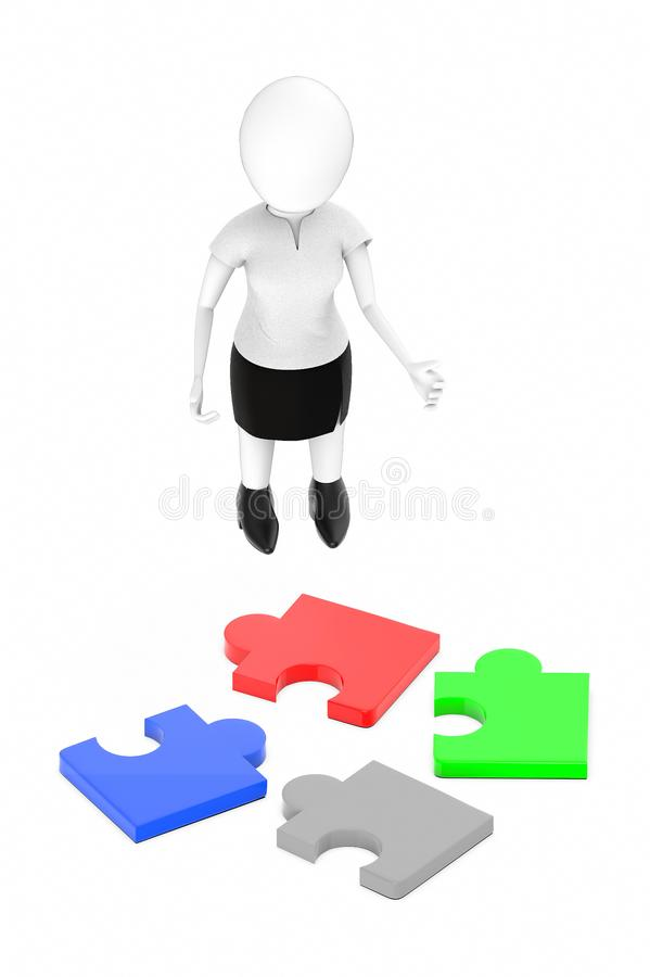 3d white character , standing , hands widened -scattered jigsaw. 3d rendering royalty free illustration