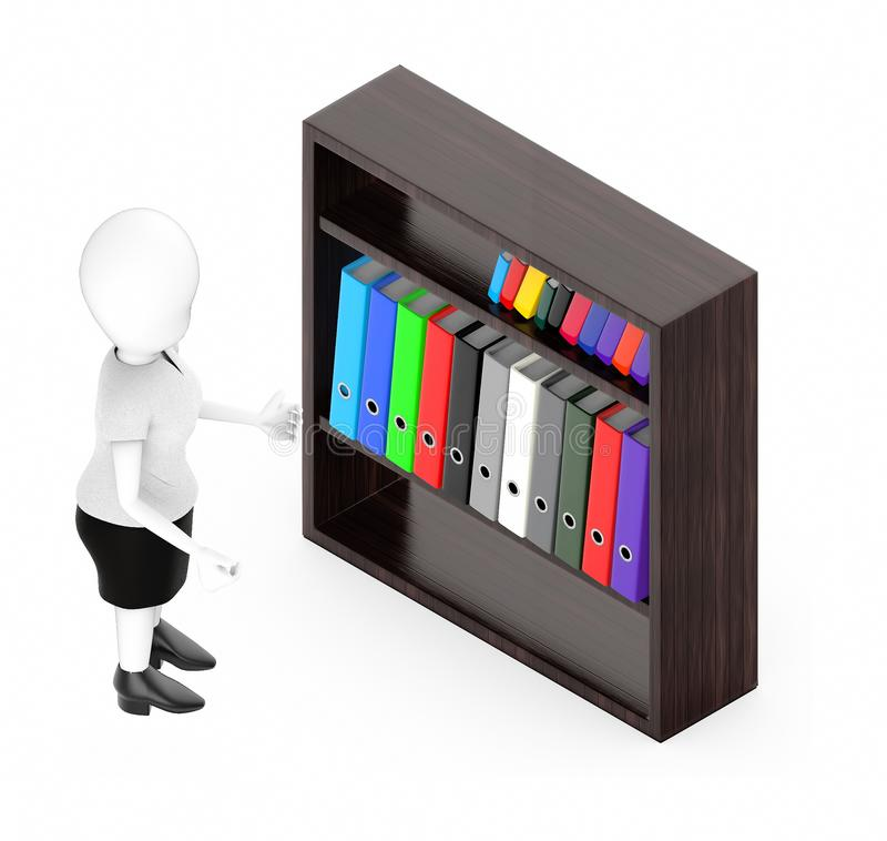 3d white character , standing , hands widened -shelf with files in it stock illustration