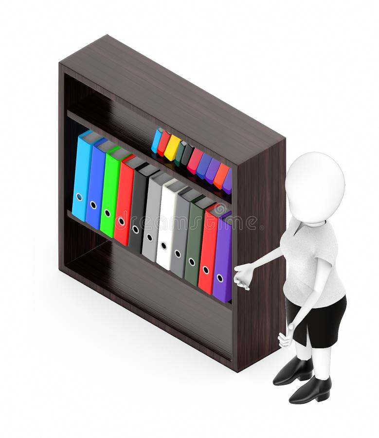 3d white character , standing , hands widened -shelf with files in it. 3d rendering stock illustration