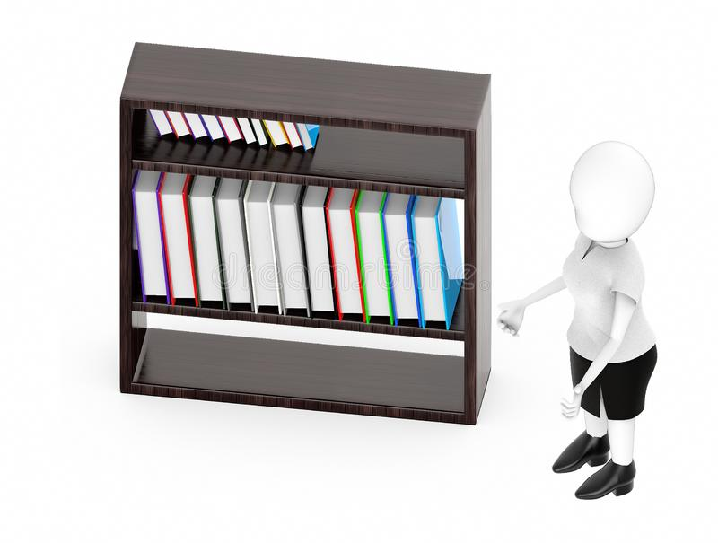 3d white character , standing , hands widened -shelf with files in it. 3d rendering royalty free illustration