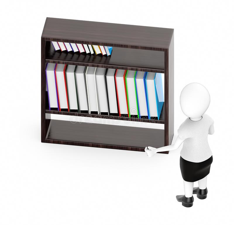 3d white character , standing , hands widened -shelf with files in it vector illustration
