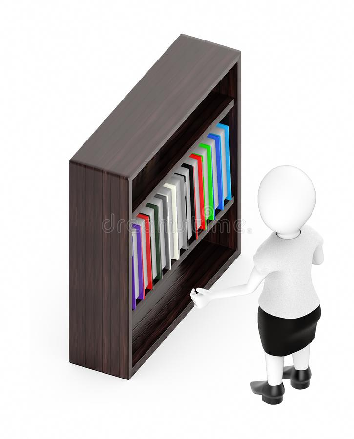 3d white character , standing , hands widened -shelf with files in it royalty free illustration
