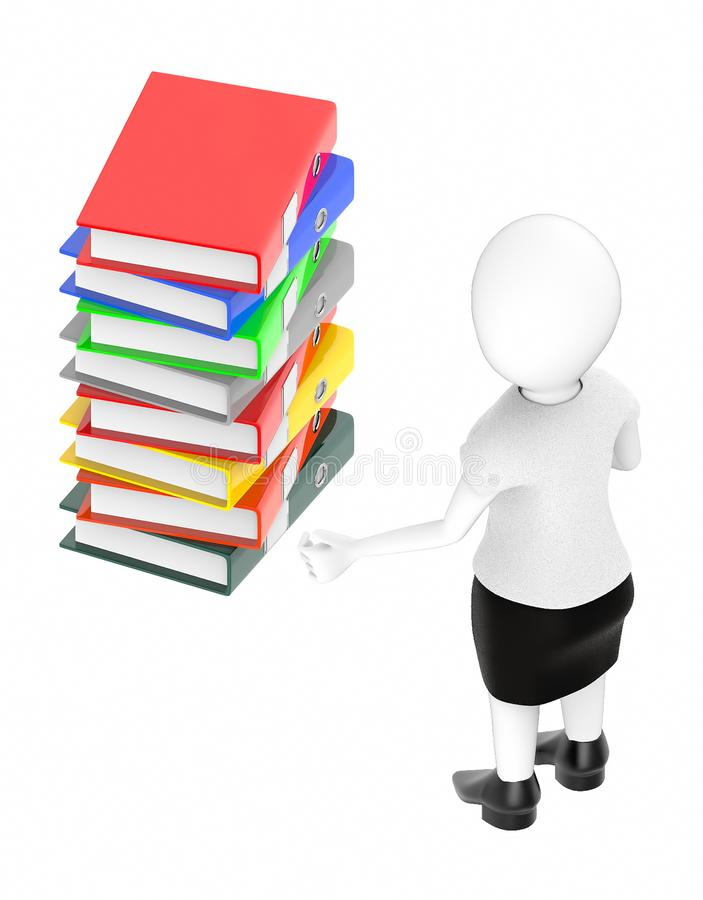3d white character , standing , hands widened -stack of files stock illustration