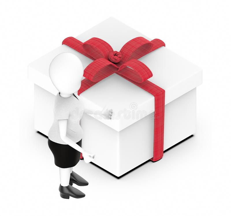 3d white character , standing , hands widened -wrapped gif box. 3d rendering vector illustration
