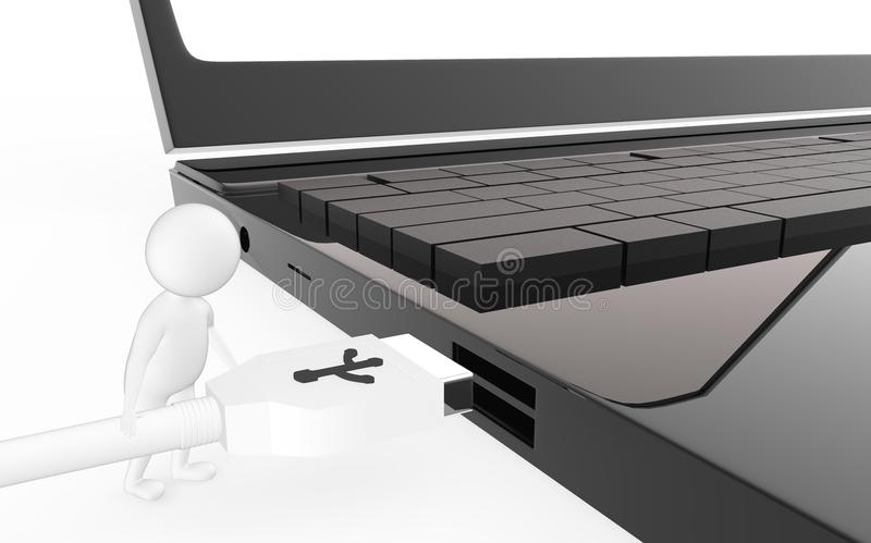 3d white character is about to plug in a usb cable to a device usb port. Isolated in white background - 3d rendering royalty free illustration
