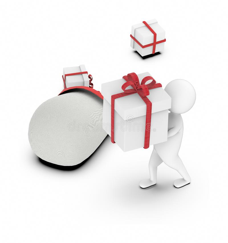 3d white character walking along with a large wrapped gifts in his hands near to a sack of gifts royalty free illustration
