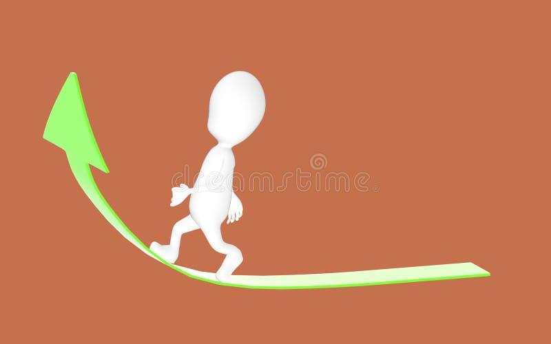 3d white character walking on green arrow stock illustration