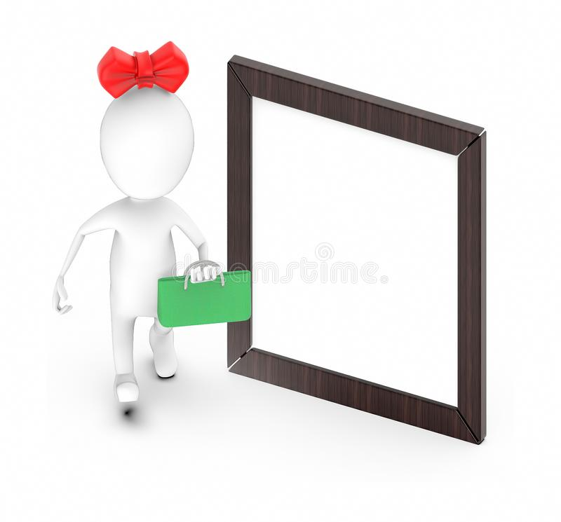 3d white character , woman hold shopping bag and walk -Wooden empty frame stock illustration
