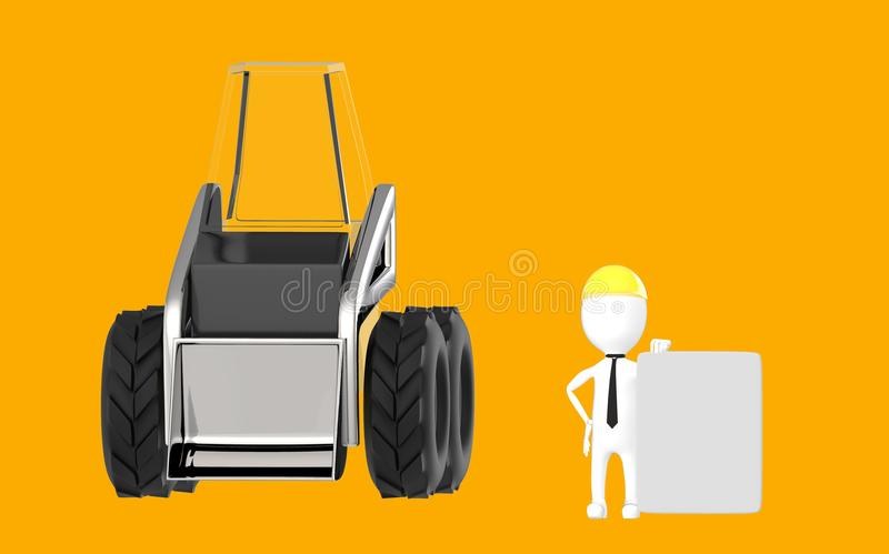 3d white character , work men presenting a blank board while standing near to a excavator vector illustration