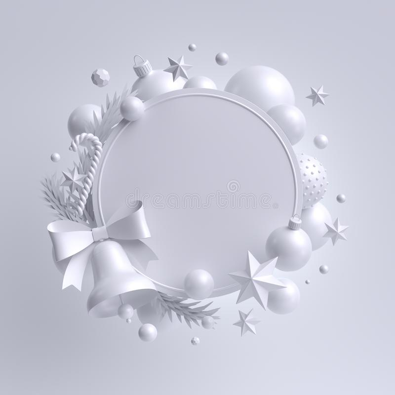 3d white Christmas background, round festive wreath with bell, blank frame, xmas ornaments, snow balls, stars and candy cane vector illustration
