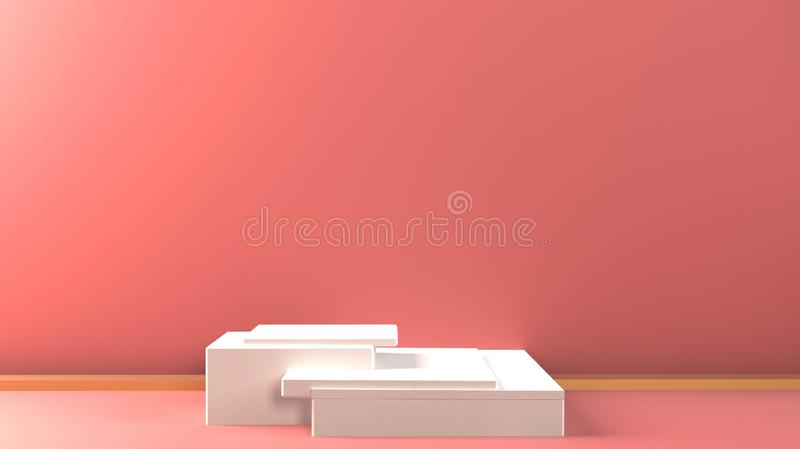 3d white cubes gradient colors in soft pastel minimal studio background. Abstract 3d geometric illustration render. stock image