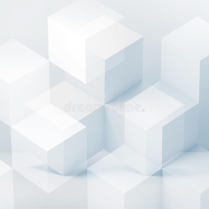 3 d white cubes pattern. Abstract digital graphic background with white cubes pattern. Multi exposure effect, 3d rendering illustration vector illustration