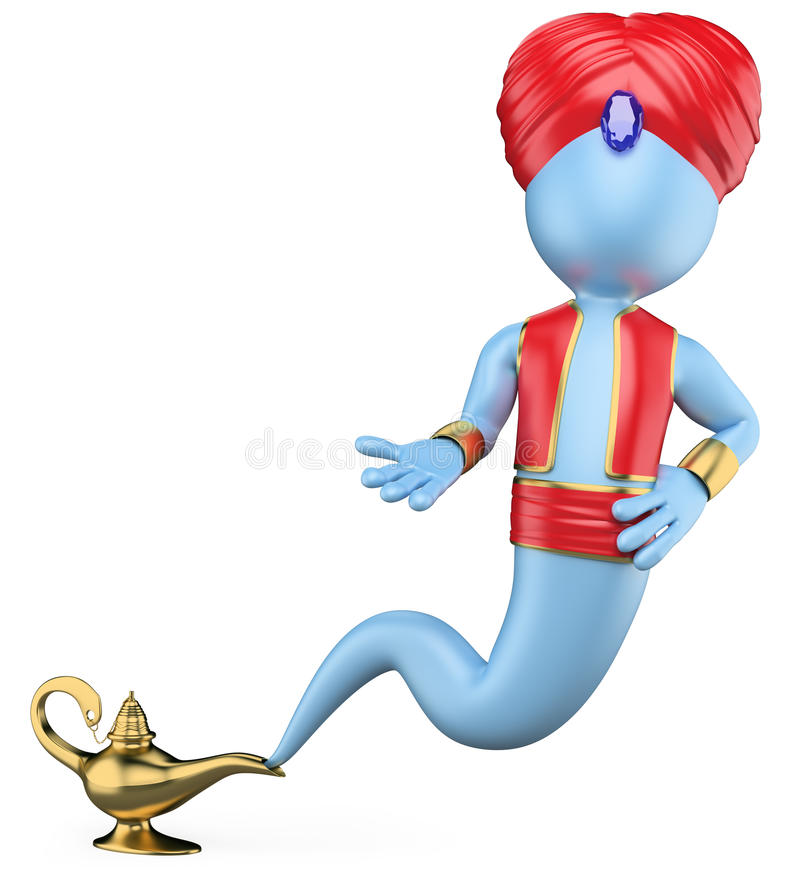 3D white people. The genie in the lamp vector illustration