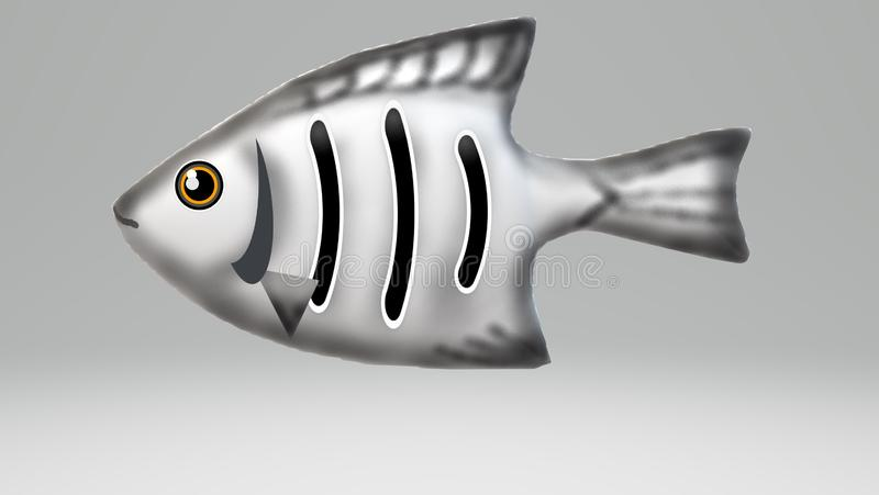 3D white-grey fish royalty free stock photography