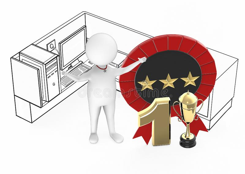 3d white guy , best employee, top no1 performer excited standing inside a office cubicle next to number 1 golden trophy and ribbon vector illustration