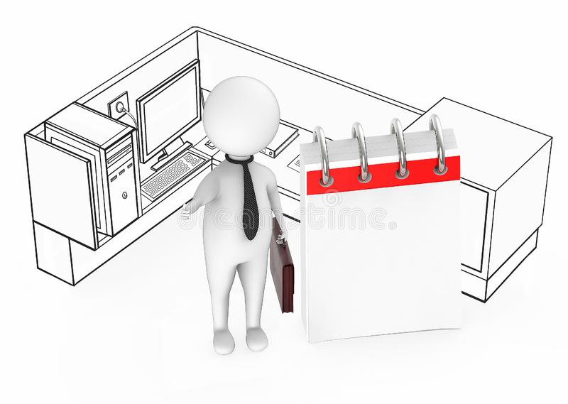 3d white guy business man holding briefcase standing next to a empty calendar inside a office cubicle stock illustration
