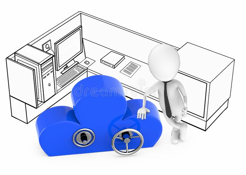3d white guy cloud security concept royalty free illustration