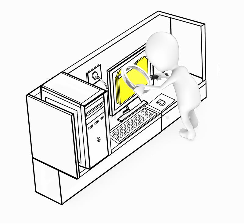 3d white guy examining files concept vector illustration