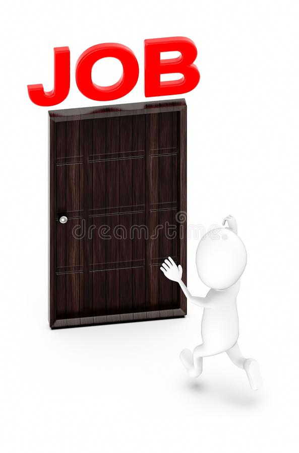 3d white guy , with file , folder -door with job text stock illustration
