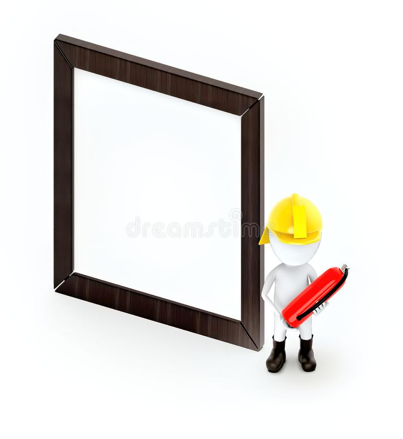 3d white guy , fire fighter with fire extiguisher -Wooden empty frame. 3d rendering vector illustration