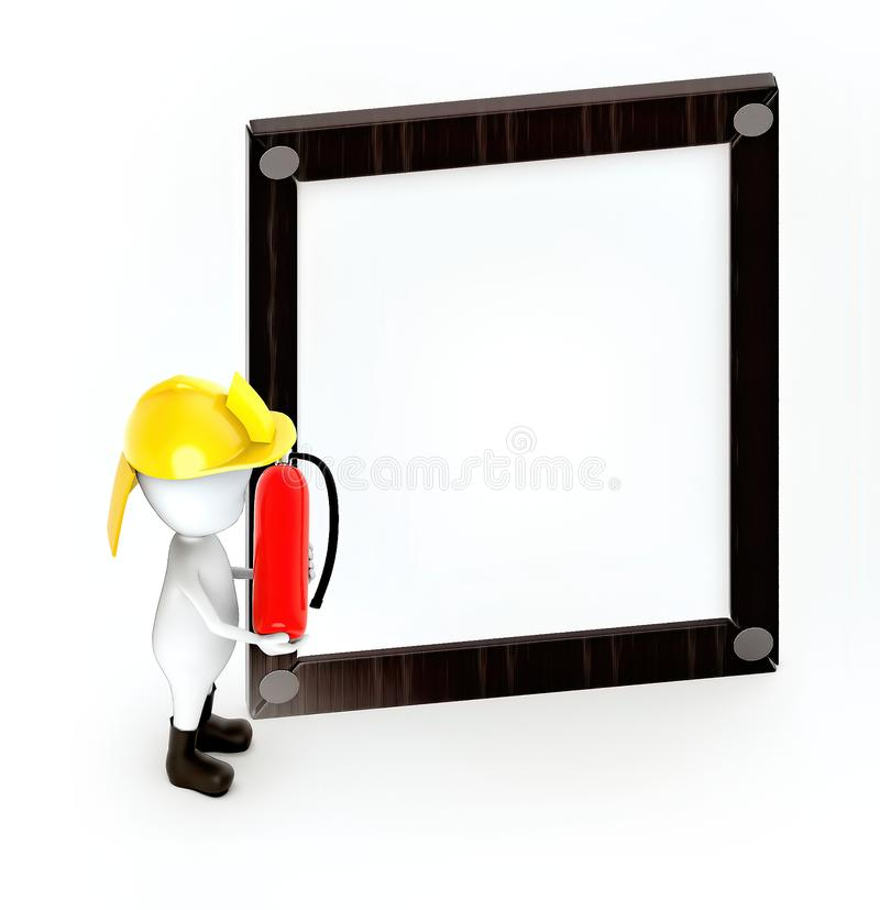3d white guy , fire fighter with fire extiguisher -Wooden empty frame. 3d rendering stock illustration