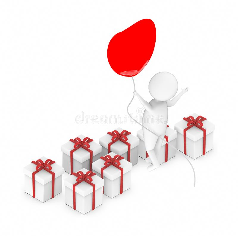 3d white guy , fly with holding love shape balloon -lot of gift boxes. 3d rendering vector illustration