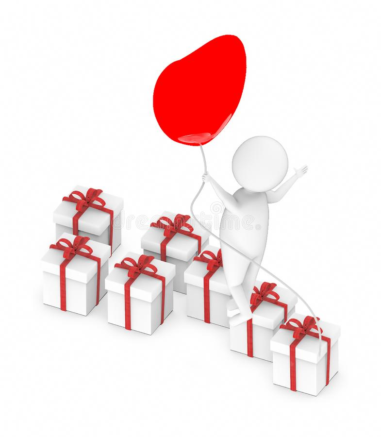 3d white guy , fly with holding love shape balloon -lot of gift boxes. 3d rendering royalty free illustration