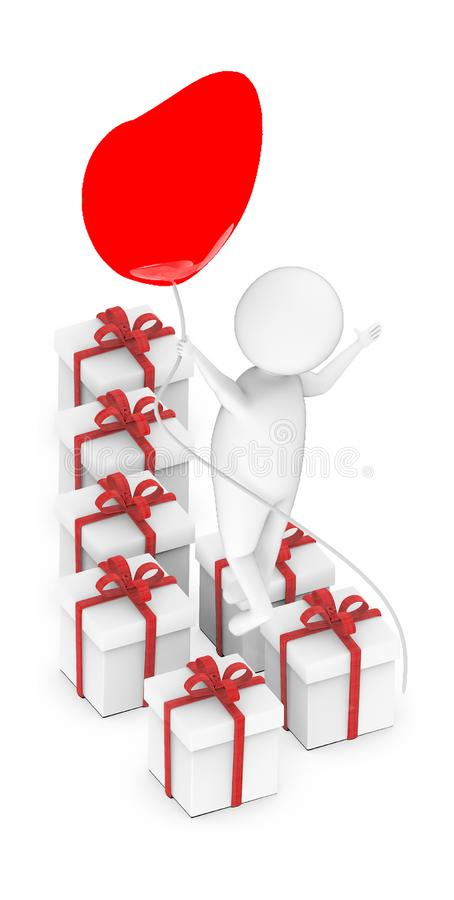 3d white guy , fly with holding love shape balloon -lot of gift boxes. 3d rendering stock illustration