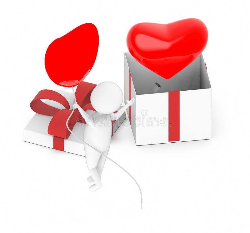 3d white guy , fly with holding love shape balloon -love sign inside a gift box. 3d rendering vector illustration