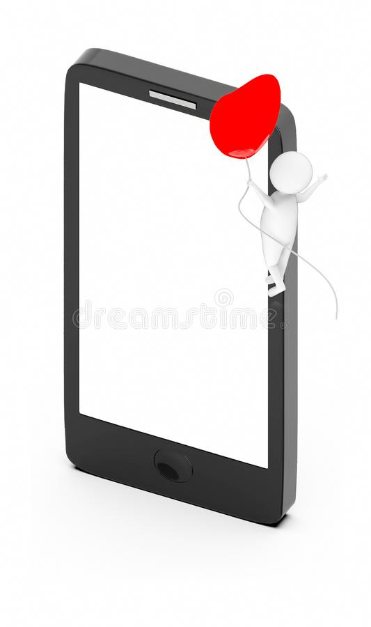 3d white guy , fly with holding love shape balloon -mobile phone. 3d rendering vector illustration