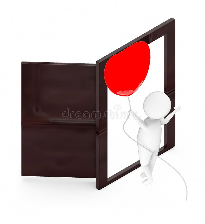 3d white guy , fly with holding love shape balloon -Opened Door. 3d rendering royalty free illustration