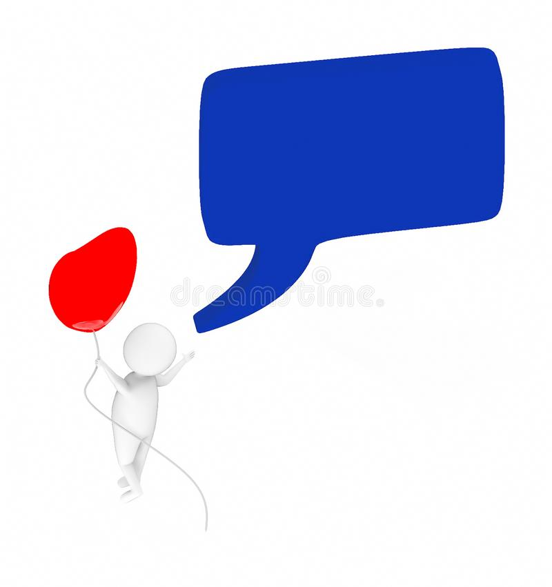 3d white guy , fly with holding love shape balloon -Speech bubble curved edge rectanglular. 3d rendering stock illustration