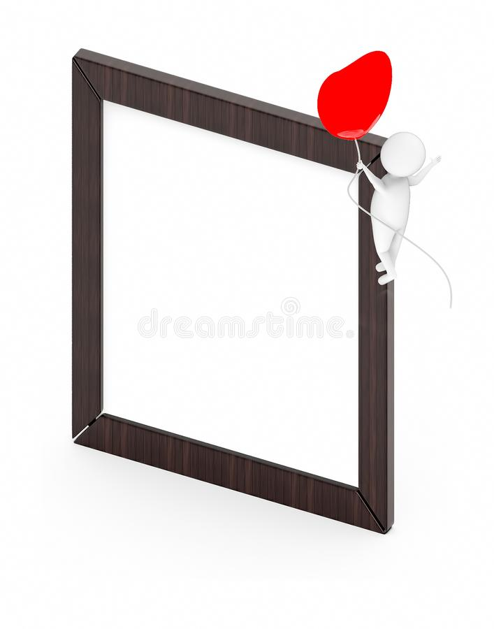 3d white guy , fly with holding love shape balloon -Wooden empty frame. 3d rendering vector illustration