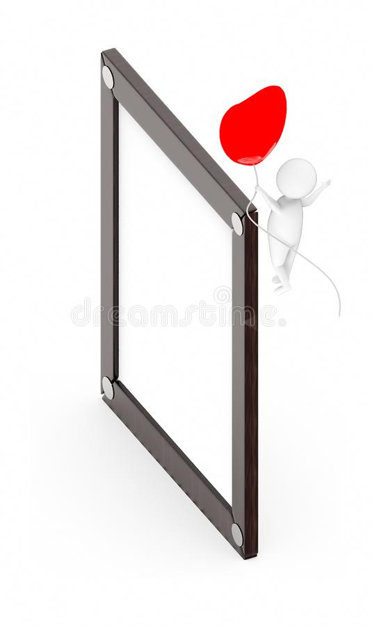 3d white guy , fly with holding love shape balloon -Wooden empty frame. 3d rendering royalty free illustration