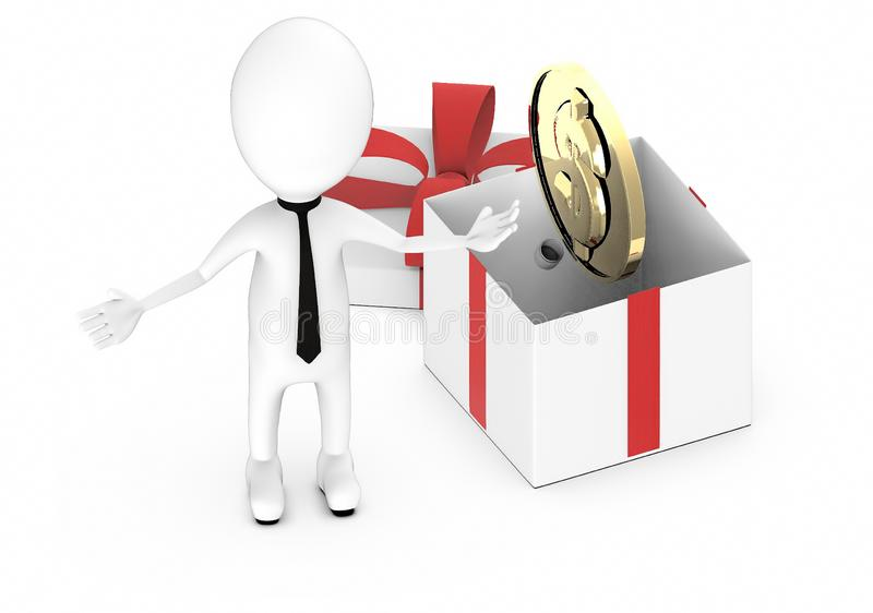 3d white guy , hands widened -gold coin inside a gift box. 3d rendering royalty free illustration