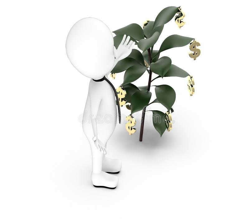 3d white guy , hands widened -plant with dollar sign hanging vector illustration