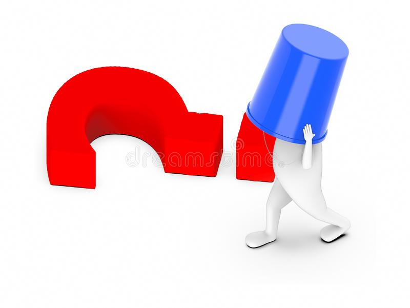 3d white guy , hide identity , anonymous -question mark lying on ground. 3d rendering stock illustration