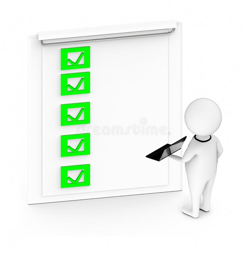 3d white guy , hold a laptop in his hand -clipboard with checklist vector illustration