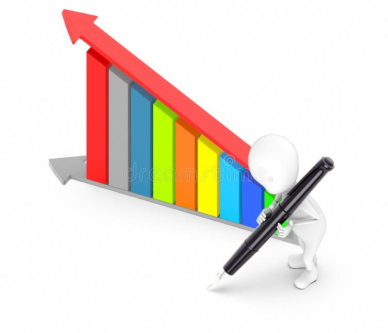 3d white guy , hold pen and write -bar graph and arrow over it. 3d rendering stock illustration