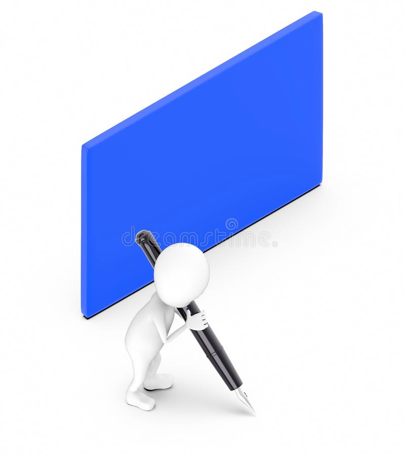 3d white guy , hold pen and write -blue color blank empty board. 3d rendering stock illustration