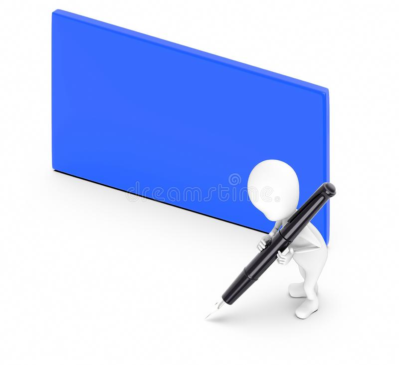 3d white guy , hold pen and write -blue color blank empty board. 3d rendering royalty free illustration