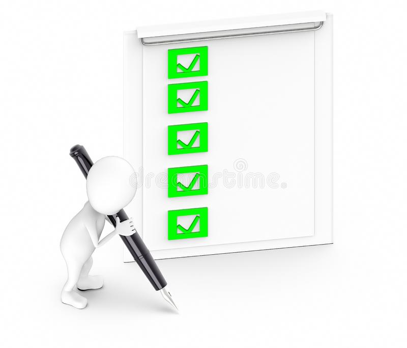 3d white guy , hold pen and write -clipboard with checklist. 3d rendering vector illustration