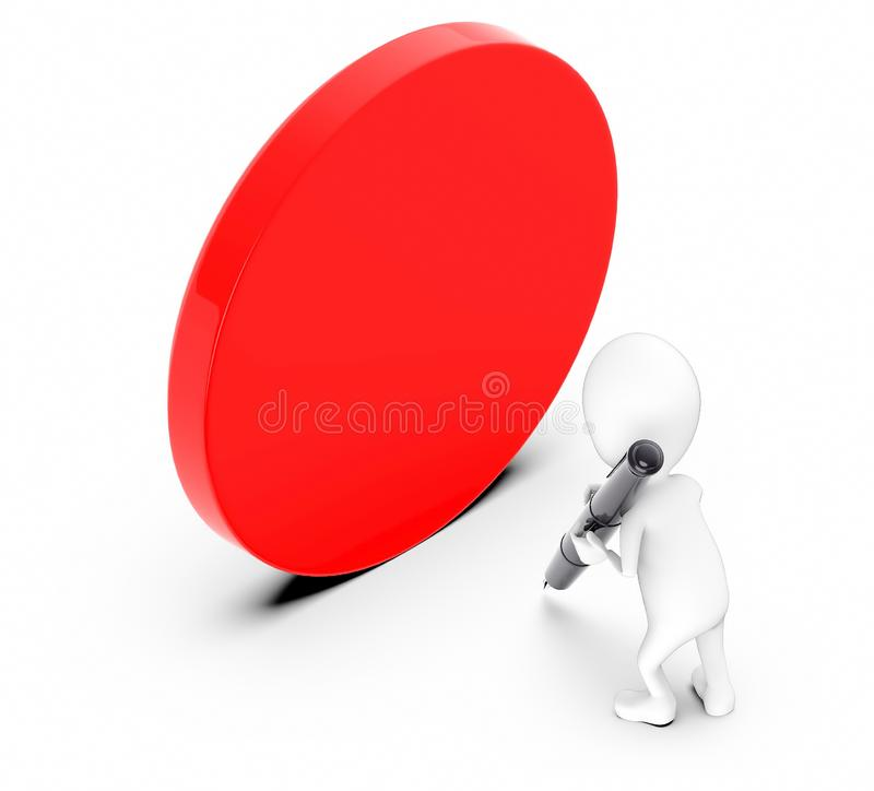 3d white guy , hold pen and write -empty circular banner. 3d rendering stock illustration