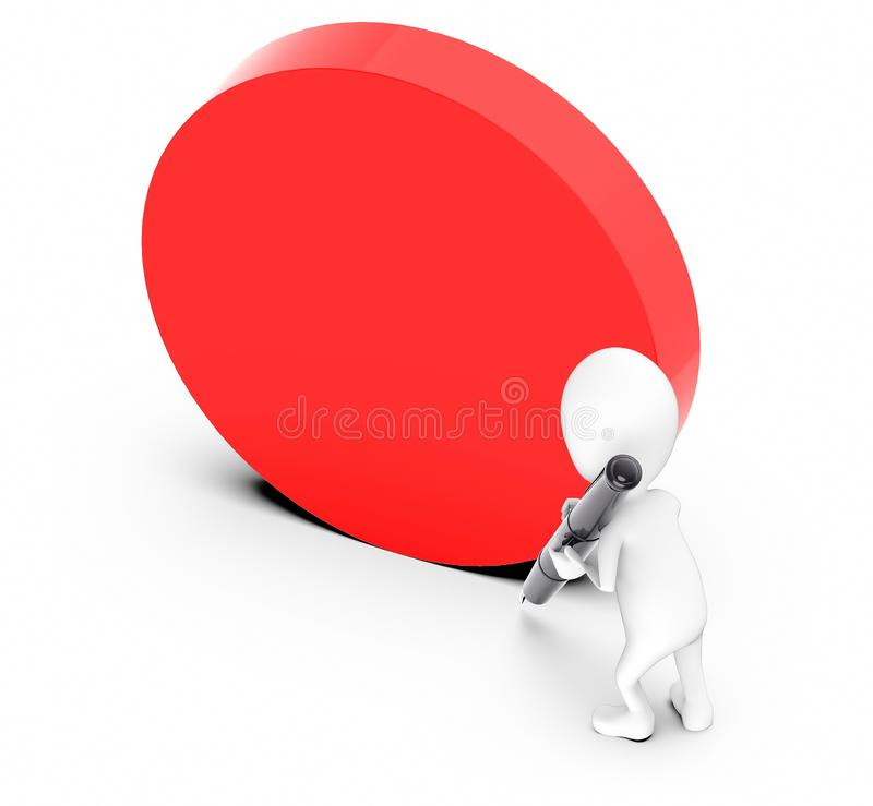 3d white guy , hold pen and write -empty circular board. 3d rendering royalty free illustration