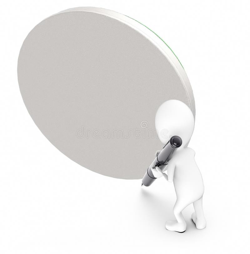 3d white guy , hold pen and write -empty circular board. 3d rendering stock illustration