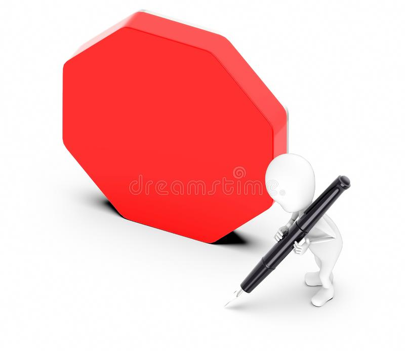 3d white guy , hold pen and write -empty copyspace , hexagonal board. 3d rendering royalty free illustration